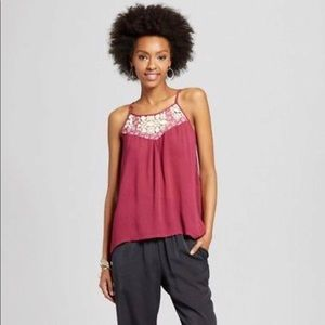 Xhilaration womens S high neck tank cranberry NEW